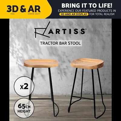 2x Vintage Tractor Bar Stool Retro Barstool Industrial Dining Chair 65cm Natural