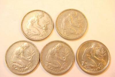 Vintage 1949-50 German  50 Pfennig coins 5 total No Reserve