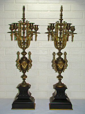 Monumental Antique Victorian Neoclassical 12 Light Bronze & Marble Candelabras