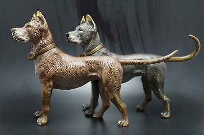 VTG Bronze Attached GREAT DANE Dog Pair