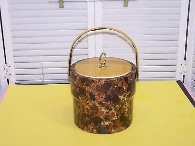 Vintage 1970's Unbranded Brown & Gold Vinyl covered Ice Bucket 9 x 8 VGC