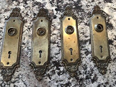 Vintage Antique Door Plates Gold Skeleton Key