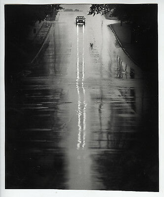 VINTAGE Incredible Modernist View of A Car's Headlights on a Wet Street Photo