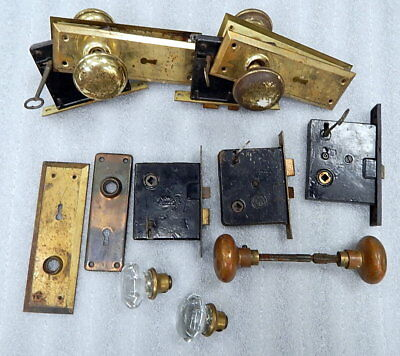 5pc Antique Door Lock Knob Hardware Bezel Key Lot Lockwood Penn AHC