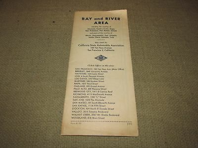 Vintage AAA Map of the San Francisco Bay and River Area Circa 1950s