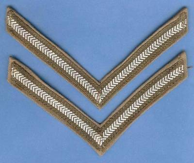 Authentic British Army WWII-1950s Lance Corporal Rank Stripes Patches Pair on KD