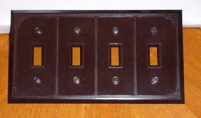 Vtg Dark Brown 4 Gang Light Switch Plate Cover Art Deco Made In Canada Nip