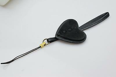 Authentic  Gucci Cell Phone Strap Black Heart Leather X Suede 36292