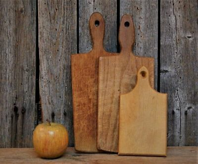 3 Antique Primitive Small Wood Cutting Board Lot Old Vintage Rustic Farmhouse