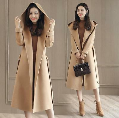 2018 New Korean Style Casual Women's Wool Blend Coat Long Fit Trench Hoode Coat