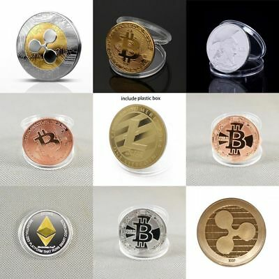 Hot Gold & Silver Plated Bitcoin/  Litecoin/ Ethereum Coin Collectible Art Gift