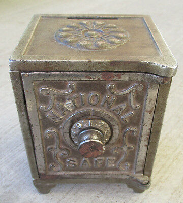 ANTIQUE NATIONAL SAFE NICKEL PLATED STILL BANK COMBINATION HEAVY Cast Iron Metal