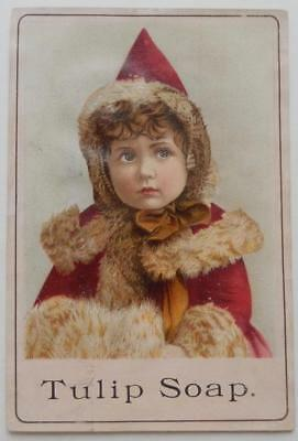 Victorian Trade Card Beautiful Girl Tulip Soap Advertisement Hat Red Coat Fur