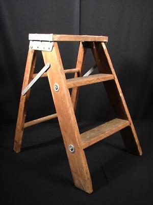 Vintage 3 Step Folding Wood w/ Metal Step Stool Ladder Garden Plant Stand Decor