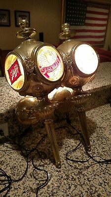 Schlitz Beer Vintage Lighted Wall Sconces Matching Pair Bar Lights