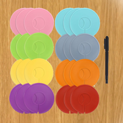 Caydo 8 Colors Clothing Size Dividers Round Hangers Closet Dividers w/Marker Pen