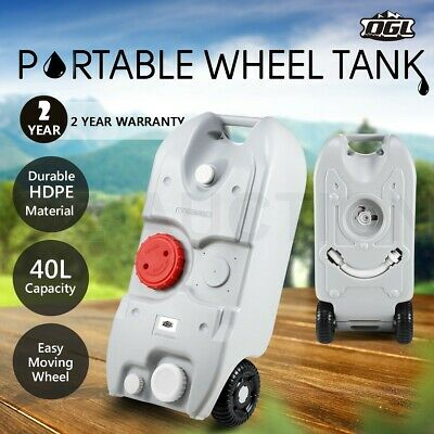 40L Wheel Water Tank Portable Outdoor Caravan Camping Motorhome Container -Grey