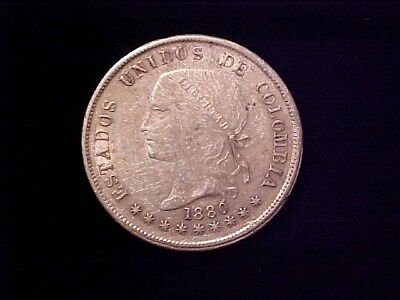 Colombia 50 Centavos Silver 1880 Ch Xf+ Lustre