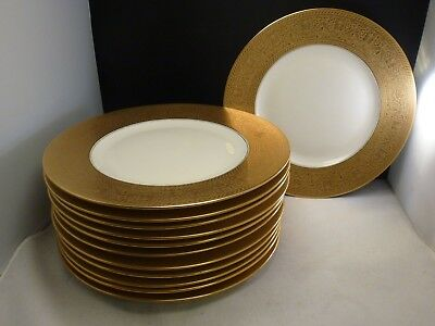 """SET 12 K & A Krautheim Selb Bavaria Gold Encrusted DINNER CHARGER PLATES 10 3/4"""""""