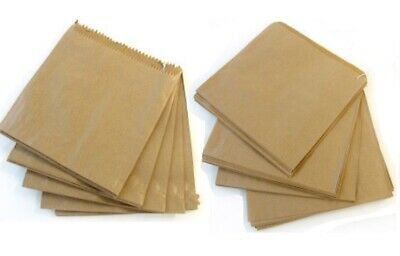 100 x Kraft Brown Strung Paper Food Bags Fruit Pastry Sandwich Veg 7inch 18cm