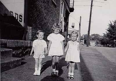 Vintage Antique Photograph Three Adorable Children Wearing White Outfits