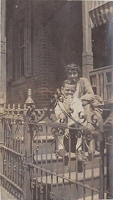 Vintage Antique Photograph Woman With Little Boy Sitting Behind Gate Fence
