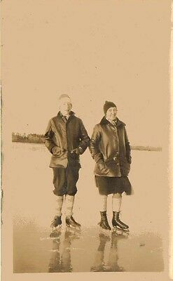 Old Antique Vintage Photograph Man and Woman Ice Skating on Lake