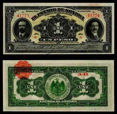 Currency 1 January1915 Sonora Mexico One Peso Series G Banknote Pick S1071 CU