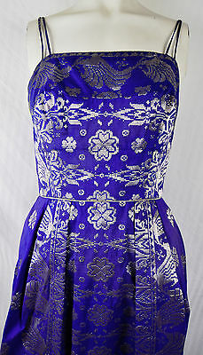 Vintage 60s Blue Silver Brocade Cocktail Dress Lame Lurex Cobalt