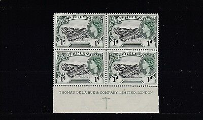 ST HELENA - SG154 MNH 1953 1d - BLOCK OF 4 W/IMPRINT