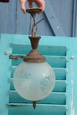 Vintage French Lobby Light 1930's Brass And Glass Hall Light Rococo Revival Chic