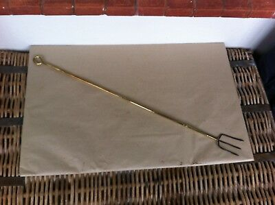 LARGE DECORATIVE ANTIQUE BRASS & STEEL TOASTING FORK 25.5 inches