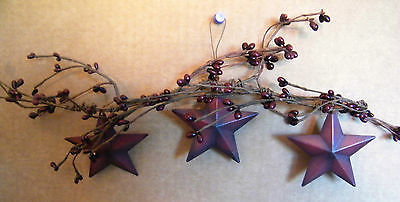 """17"""" Country Rustic Primitive pip Berry Floral Twig garland SWAG METAL STAR Sign"""