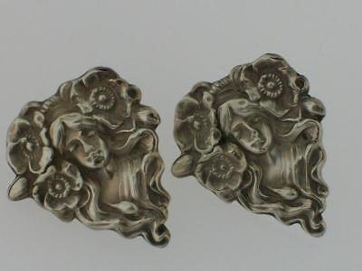 Vtg Antique Art Deco Nouveau Sterling Silver Repousse Lady Head Flower Earrings