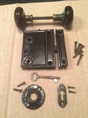 Vintage Black Rim Lock Set Bron Porcelain Door Knob Keeper Plate Latch Screw Key