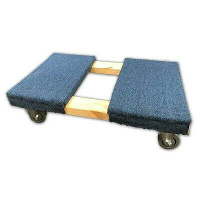 "4 Wheel Carpeted office move dolly with 3.5"" deluxe gray casters"