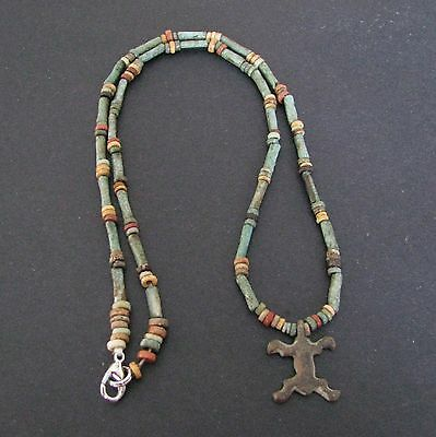 NILE  Ancient Egyptian Lizard Amulet Mummy Bead Necklace ca 600 BC