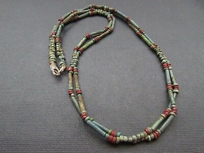 NILE  Ancient Egyptian Double Srand Amulet Mummy Bead Necklace ca 600 BC