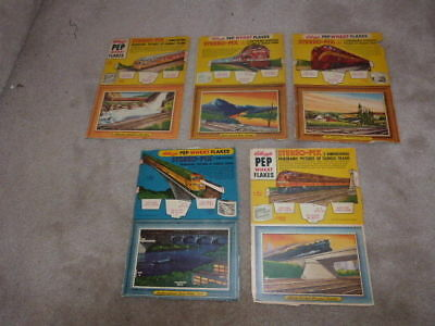 Vintage Pep Kellogg's Cereal Stereo-Pix 3D Panoramic Trains Box Flats Cut Outs