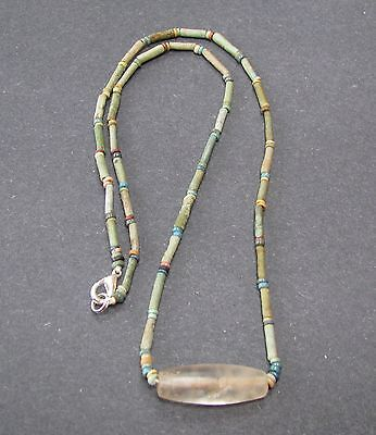 NILE  Ancient Egyptian Rock Crystal Amulet Mummy Bead Necklace ca 1000 BC