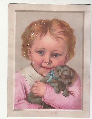 Baby in Pink Holding Black Puppy Dog Embossed No Advertising Vict Card c1880s