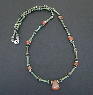 NILE  Ancient Egyptian Carnelian Amulet Faience Mummy Bead Necklace ca 600 BC