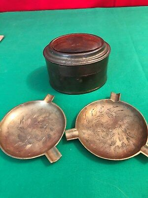 2 Vintage Ashtrays Solid Brass & Decorative Etching & Trinket Box  India