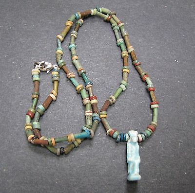 NILE  Ancient Egyptian Turaret Amulet Mummy Bead Necklace ca 600 BC