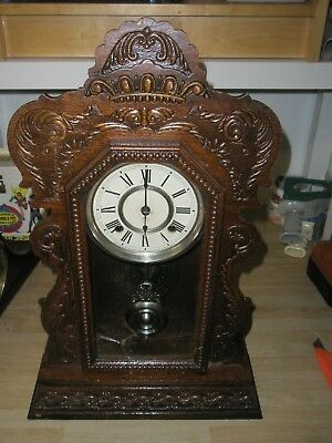 """Ansonia (New York) Antique Wind Up Chime Wood Mantle Clock 22"""" high, 14"""" wide"""