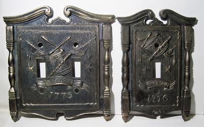 Vtg 1968 American Tack & Hdwe Brass Switch Plates Single&Double 1776 Fyfe & Drum