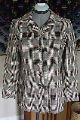 Vintage 1960s Young Jaeger Wool Blend Plaid Houndstooth Blazer Jacket Sz M EUC