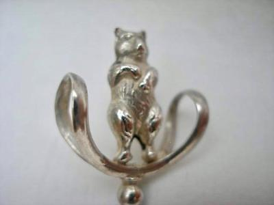 Rare Antique Sterling Silver Teddy Bear Hat Pin by Pearce & Thompson Date 1909.