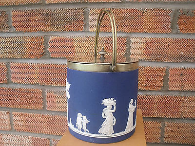 Early Carlton Ware Biscuit Barrel Neoclassical style Figures Silver Plated Lid