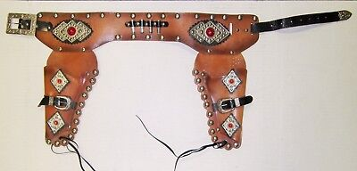 Vintage Toy Cap Gun Double Fancy Holster Brown Silver Red Jewels NO RESERVE